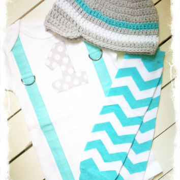 BOYS FIRST BIRTHDAY Outfit-Chevron Birthday Party-Chevron Birthday Shirt-Chevron Birthday Bodysuit with Hat and Warmers