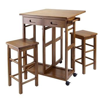 Amazing Square Drop Leaf Table with Two Stools and Wheels by Winsome Woods
