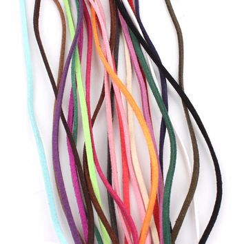 10meter/pack width 3mm mixed color  Korean Velvet Leather Cord string Rope  Lace jewelry Accessories Findings DIY for friend