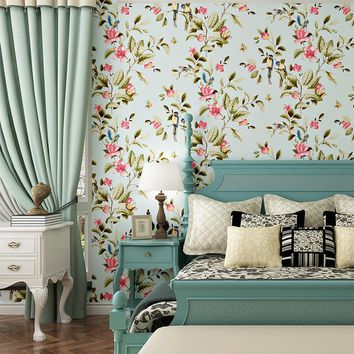 3D Modern Wallpapers Home Decor Flower Wallpaper 3D Non Woven Wall paper Roll Bird Trees Wallpaper decorative,Bedroom Wallpaper