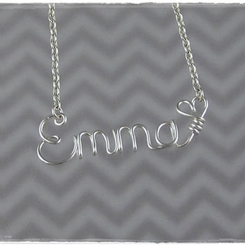 FREE SHIPPING!!!  Emma Wire Word Name Pendant Necklace
