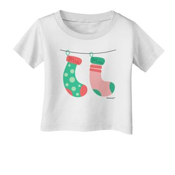 Cute Mrs and Mrs Christmas Couple Stockings Infant T-Shirt by TooLoud