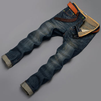 Stylish High Quality Rinsed Denim Men Jeans [6528600323]