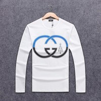 GUCCI 2018 autumn and winter new men's round neck loose hooded sweater White