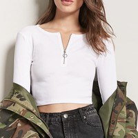 Ribbed Pull-Ring Crop Top