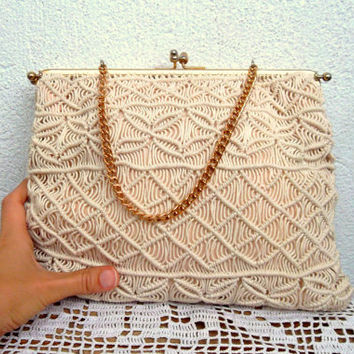 Cream Beige Macrame Handbag, Off White Kelly Style Bag, Ivory Framed Purse, Woven Clutch with Gold Tone Metal Frame, Kiss Lock Crochet Purse