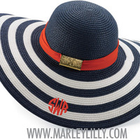 Monogrammed Navy and White Striped Derby Hat with Red Sash | Derby Hat | Marley Lilly