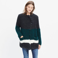 HANDKNIT FRINGE OPEN CARDIGAN IN STRIPEBLOCK