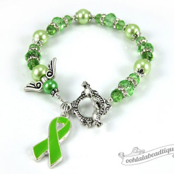 Lymphoma Cancer bracelet awareness jewelry Guardian Angel bracelet cancer awareness green ribbon bracelet cancer jewelry ribbon awareness