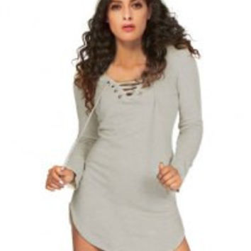 Casual Hooded Lace-Up Side Slit Solid Color Pullover Hoodie Dress For Women
