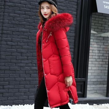 Winter Jacket Women 2018 Women Fashion Solid Color Zipper Parka Coat Long Hooded Duck Down Jacket  Female Slim Outwear Plus Size