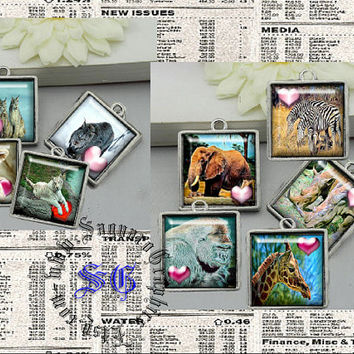 Valentine African Wildlife Art - Digital Collage Sheets - 1.5 inch Squares for Jewelry Supplies, Makers, Pendants, Arts & Crafts