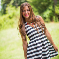 Black and White Stripe Gameday Dress