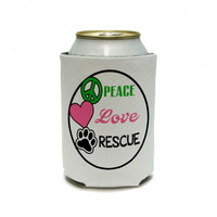 Peace Love Rescue - Adopt Animal Shelter Pet Dogs Cats Paw Print Can Cooler Drink Insulator Beverage Insulated Holder