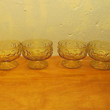 VINTAGE SET OF FOUR FOSTORIA ICE DESIGN SHERBET DESERT CUPS EXCELLENT CONDITION
