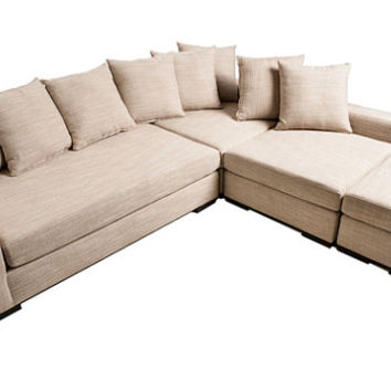 Modern Sofa lounge sectional contemporary couch. High Quality CUSTOM made here in the USA! modern L Sectional + Ottoman - solid wood frame!