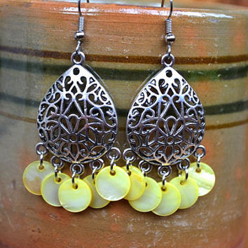 Chandelier Earrings Yellow Shell Earrings Gypsy Earrings Boho Earrings Long Dangle Earrings Long Hippie Earrings Boho Jewelry Gypsy Jewelry