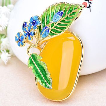 Blue Peacock Cloisonne Yellow Natural Chalcedony 925 Pendant