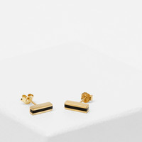 Totokaelo - Ming Yu Wang Gold / Onyx Line Earrings - $229.00