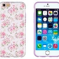 "iPhone 6 Case, DandyCase PERFECT PATTERN *No Chip/No Peel* Flexible Slim Case Cover for Apple iPhone 6 (4.7"" screen) - LIFETIME WARRANTY [Pink & Lavender Vintage Floral]"