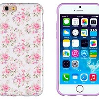 "iPhone 6 Case, DandyCase PERFECT PATTERNNo Chip/No Peel Flexible Slim Case Cover for Apple iPhone 6 (4.7"" screen) [Pink & Lavender Vintage Floral]"