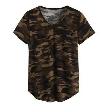 PEAPGC3 Women's T-shirt V Collar Sexy Summer Camo Short Sleeved Tshirt and Casual Camouflage Shirt Fashion Street Wear