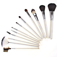 Cosmetic Make-up and Powder Brush Sets with Floral Bag (12Pcs)