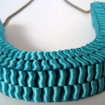 Anthropologie inspired Teal accordion ribbon necklace