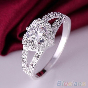 Women Chic 925 Sterling Silver Crystal Heart Shaped Love Wedding Ring Size 8 (Size: 8, Color: Silver) = 1932197700