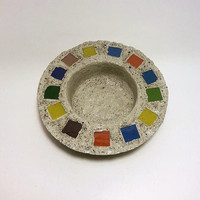 Concrete Bowl, Bowl, Stained Glass Bowl, Concrete, Fire Bowl