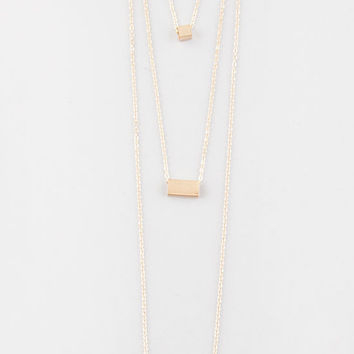 Full Tilt 3 Row Square/Rectangle/Bar Necklace Gold One Size For Women 27271262101