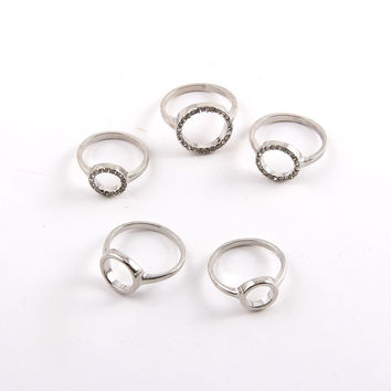 5 Piece Silver Ring Set