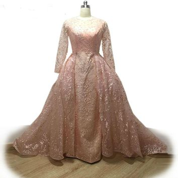 Elegant Pink Lace Evening Dresses removable Train Dress High Neck Formal Evening Gowns Robe