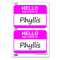 Phyllis Hello My Name Is - Sheet of 2 Stickers