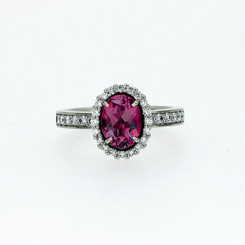 Oval cut Rubellite tourmaline halo engagement ring with diamonds, white gold, diamond halo ring, pink engagement, tourmaline engagement