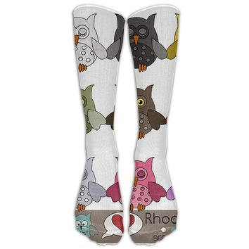 Owls Novelty Cotton Knee High All-Over Printed Socks Pink