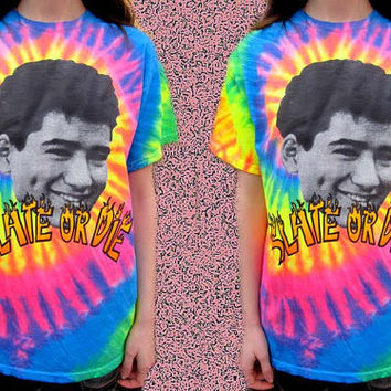 SLATE OR DIE Neon Tie Dye Skater Ac Slater Saved by the Bell Shirt
