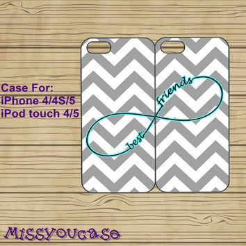 iphone 4 case,iphone 4s case,cute iphone 4 case,iphone 5 case,cute iphone 5 case,Grey Chevron,Infinity,best friends case,in plasitc,silicone
