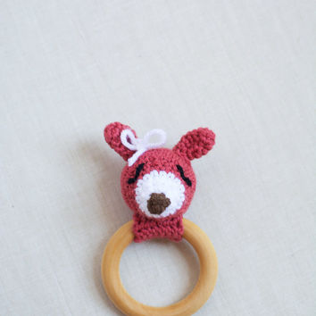Baby Teether Rattle Toy - Crochet Woodland Deer - Organic Maple Wood Teething Ring