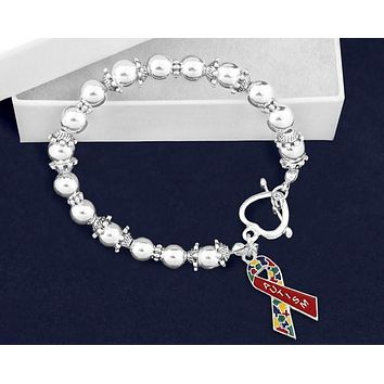Autism Ribbon Beaded Charm Bracelet