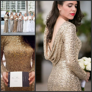 Long Sleeves Bridesmaid Dresses Scoop Neck Sheath Long Floor Length Gold Sequins Sparkly Plus Size Maid of Honor Dress