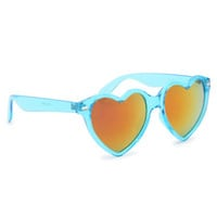 With Love From CA Blue Revo Hearts Sunglasses at PacSun.com