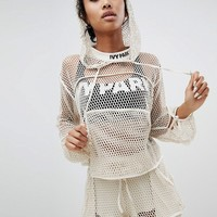 Ivy Park Mesh Lace Up Cropped Hoodie at asos.com