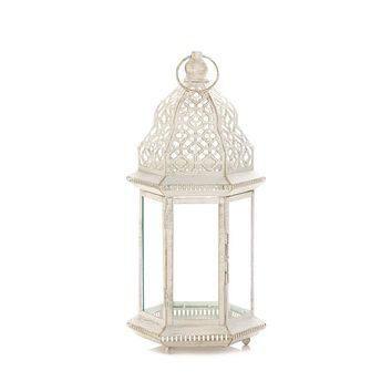 Set of 2 Sublime Distressed White Large Lanterns