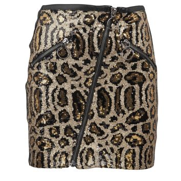 Wild Forever Black Faux Leather Leopard Sequins Mini Skirt
