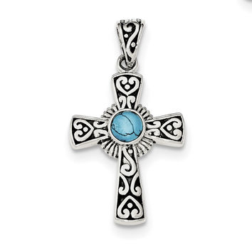 Sterling Silver Antiqued Recon Turquoise Cross Pendant QP4111