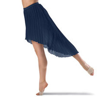 Pleated High-Low Hem Dance Skirt; Balera