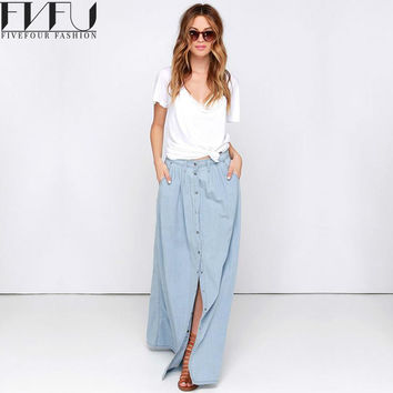 New Fashion 2017 Spring Skirt Women Single-breasted Denim Maxi Skirt Casual Summer Style High Waist Long Skirt Plus Size