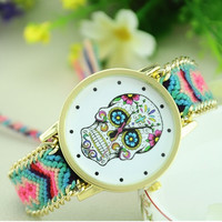 Mexican Skull Watch - Colorful Fabric Watch Band