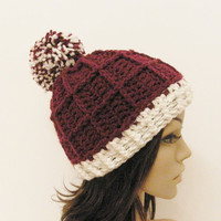 Epic Ribbed Squared Beanie With PomPom- Merlot and Eggshell - Made to order - Mens and womens hat